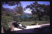 view [Untitled Garden in Santa Barbara, California]: walled garden on left. digital asset: [Untitled Garden in Santa Barbara, California]: walled garden on left.: 1997 May 20.