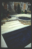 view [Untitled Garden in Pasadena, California]: finished view: terrace steps adjacent to spa - leading into pool steps. digital asset: [Untitled Garden in Pasadena, California] [slide]: finished view: terrace steps adjacent to spa - leading into pool steps.