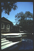 view [Untitled Garden in Pasadena, California]: overall view of raised terrace above pool. digital asset: [Untitled Garden in Pasadena, California] [slide]: overall view of raised terrace above pool.