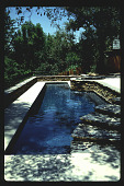 view [Untitled Garden in Pasadena, California]: overall view of pool and stacked stone walls. digital asset: [Untitled Garden in Pasadena, California] [slide]: overall view of pool and stacked stone walls.