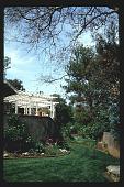view [Untitled Garden in Pasadena, California]: raised terrace with pergola overlooking rear garden. digital asset: [Untitled Garden in Pasadena, California] [slide]: raised terrace with pergola overlooking rear garden.