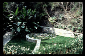 view [Untitled Garden in Bel Air, California]: lower garden with bouquet canyon stone walls. digital asset: [Untitled Garden in Bel Air, California] [slide]: lower garden with bouquet canyon stone walls.