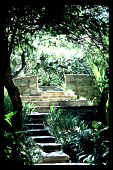 view [Untitled Garden in Bel Air, California]: steps leading to enclosed bouquet canyon stone area on hillside. digital asset: [Untitled Garden in Bel Air, California] [slide]: steps leading to enclosed bouquet canyon stone area on hillside.