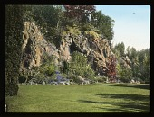 view The Butchart Gardens: stone cliffs and ledges from an old quarry used as design elements with herbaceous and woody plant material and lawns for the sunken garden. digital asset: The Butchart Gardens: stone cliffs and ledges from an old quarry used as design elements with herbaceous and woody plant material and lawns for the sunken garden.: [1930?]
