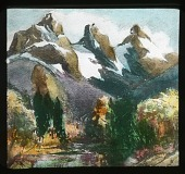 view [Canadian Rockies]: landscape painting of the Three Sisters, a trio of peaks near Canmore, Alberta. digital asset: [Canadian Rockies]: landscape painting of the Three Sisters, a trio of peaks near Canmore, Alberta.: [between 1915 and 1930]