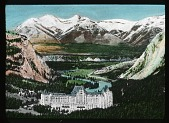 view [Canadian Rockies]: the Banff Springs Hotel and the Bow River Valley. digital asset: [Canadian Rockies]: the Banff Springs Hotel and the Bow River Valley.: [between 1915 and 1930]
