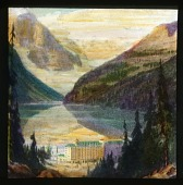 view [Canadian Rockies]: a painting of Lake Louise and its surrounding mountains, with the Chateau Lake Louise hotel in the foreground. digital asset: [Canadian Rockies]: a painting of Lake Louise and its surrounding mountains, with the Chateau Lake Louise hotel in the foreground.: [between 1915 and 1930]