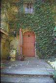 view [Kountze-Cannon Garden]: red front door with ivy on house. digital asset: [Kountze-Cannon Garden]: red front door with ivy on house.: 2001 Jul.