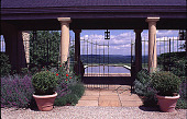 view [Windy Hill]: view through pool pavilion. digital asset: [Windy Hill]: view through pool pavilion.: 1999 Jul.