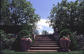 view [Windy Hill]: urns at base of sandstone steps. digital asset: [Windy Hill]: urns at base of sandstone steps.: 1998 Jun.