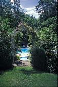 view [Apple Acres]: vista of pools through arch. digital asset: [Apple Acres]: vista of pools through arch.: 2001 Aug.