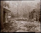 view [Unidentified Garden in Connecticut, No. 1]: looking toward stone patio through shade garden. digital asset: [Unidentified Garden in Connecticut, No. 1] [photoprint]: looking toward stone patio through shade garden.