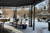 view [Scarborough Farm]: ornamental ironwork supports the patio built in 1926; the outdoor fireplace was built in 2011. digital asset: [Scarborough Farm]: ornamental ironwork supports the patio built in 1926; the outdoor fireplace was built in 2011.: 2017 May.