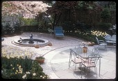 view [McGuire Garden]: view of furniture in relation to the fountain. digital asset: [McGuire Garden] [slide (photograph)]: view of furniture in relation to the fountain.