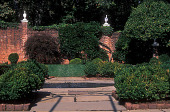view [Gray Garden]: view of lawn, far wall (with finials), and fountain. digital asset: [Gray Garden]: view of lawn, far wall (with finials), and fountain.: 2006 Oct.