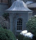 view [Gray Garden]: outbuilding with latticework on lower terrace. digital asset: [Gray Garden]: outbuilding with latticework on lower terrace.: 2005 Mar.