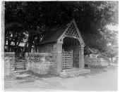 view Kilkhampton Church: the lych gate at St. James's Church in Kilkhampton. digital asset: Kilkhampton Church [glass negative]: the lych gate at St. James's Church in Kilkhampton.