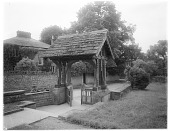 view Kilkhampton Church: an unidentified lych gate, once thought to be that of St. James's Church in Kilkhampton, Cornwall. digital asset: Kilkhampton Church [glass negative]: an unidentified lych gate, once thought to be that of St. James's Church in Kilkhampton, Cornwall.