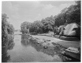 view [Nuneham House and Park]: thatched cottage and River Thames at Nuneham Park, with Nuneham House visible in the distance. digital asset: [Nuneham House and Park] [glass negative]: thatched cottage and River Thames at Nuneham Park, with Nuneham House visible in the distance.