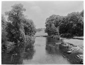 view [Nuneham House and Park]: the River Thames near Nuneham Park Bridge, with Nuneham House in the distance. digital asset: [Nuneham House and Park] [glass negative]: the River Thames near Nuneham Park Bridge, with Nuneham House in the distance.
