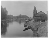 view Maidenhead Bridge, River Thames: the River Thames, with Maidenhead Bridge and the Riviera Hotel in the background. digital asset: Maidenhead Bridge, River Thames [glass negative]: the River Thames, with Maidenhead Bridge and the Riviera Hotel in the background.