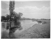 view Unidentified Landscape: an unidentified location, probably along the River Thames between Oxford and Maidenhead. digital asset: Unidentified Landscape [glass negative]: an unidentified location, probably along the River Thames between Oxford and Maidenhead.