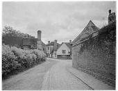view [Miscellaneous Sites in Shere, Surrey, England, and Vicinity, Series 1]: looking toward the intersection of Upper Street, Middle Street, and Gomshall Lane. digital asset: [Miscellaneous Sites in Shere, Surrey, England, and Vicinity, Series 1] [glass negative]: looking toward the intersection of Upper Street, Middle Street, and Gomshall Lane.