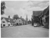 view [Miscellaneous Sites in Shere, Surrey, England, and Vicinity, Series 1]: looking from The Square toward the Church of St. James. digital asset: [Miscellaneous Sites in Shere, Surrey, England, and Vicinity, Series 1] [glass negative]: looking from The Square toward the Church of St. James.