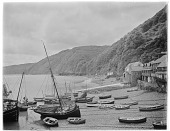 view [Miscellaneous Sites in Clovelly, Devon, England]: boats in the harbor at low tide. digital asset: [Miscellaneous Sites in Clovelly, Devon, England] [glass negative]: boats in the harbor at low tide.