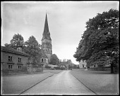 view [Chatsworth Estate]: looking toward St. Peter's Church in Edensor, with the Edensor schoolhouse (built 1841; demolished 1950) in the left foreground. digital asset: [Chatsworth Estate] [glass negative]: looking toward St. Peter's Church in Edensor, with the Edensor schoolhouse (built 1841; demolished 1950) in the left foreground.