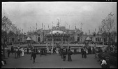view [Franco-British Exhibition, 1908]: the Elite Gardens and bandstand. digital asset: [Franco-British Exhibition, 1908] [negative]: the Elite Gardens and bandstand.