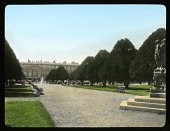 view [Hampton Court Palace]: looking from the Great Fountain Garden and its yew trees toward the palace. digital asset: [Hampton Court Palace]: looking from the Great Fountain Garden and its yew trees toward the palace.: 1929 Jun.