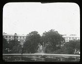 view [Hampton Court Palace]: looking from the Privy Garden to the south front, designed by Christopher Wren. digital asset: [Hampton Court Palace]: looking from the Privy Garden to the south front, designed by Christopher Wren.: [between 1915 and 1930]