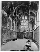 view [Hampton Court Palace]: the Tudor Great Hall. digital asset: [Hampton Court Palace] [glass negative]: the Tudor Great Hall.