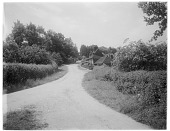 view [Miscellaneous Sites in Groombridge, Kent, England]: an unidentified road and house. digital asset: [Miscellaneous Sites in Groombridge, Kent, England] [glass negative]: an unidentified road and house.
