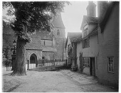 view [Horsham Church]: the Parish Church of St. Mary the Virgin (St. Mary's Church) and nearby buildings on the Causeway in Horsham, West Sussex. digital asset: [Horsham Church] [glass negative]: the Parish Church of St. Mary the Virgin (St. Mary's Church) and nearby buildings on the Causeway in Horsham, West Sussex.