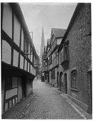 view [Miscellaneous Sites in Ledbury, Herefordshire, England]: Church Lane, with the church of St. Michael and All Angels in the distance. digital asset: [Miscellaneous Sites in Ledbury, Herefordshire, England] [glass negatives]: Church Lane, with the church of St. Michael and All Angels in the distance.