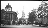 view [Miscellaneous Sites in London, England]: Trafalgar Square, the National Gallery, and the church of St. Martin-in-the-Fields. digital asset: [Miscellaneous Sites in London, England] [negative]: Trafalgar Square, the National Gallery, and the church of St. Martin-in-the-Fields.