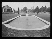 view [Abbotswood]: apsidal-ended pool, fountain, and summerhouse on former tennis lawn. digital asset: [Abbotswood] [lantern slide]: apsidal-ended pool, fountain, and summerhouse on former tennis lawn.