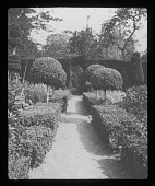 view [Sutton Courtenay Manor House]: the long garden. digital asset: [Sutton Courtenay Manor House] [lantern slide]: the long garden.