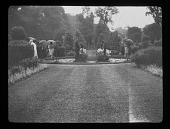 view [Compton Wynyates]: circular lily pond in the center of the gardens. digital asset: [Compton Wynyates] [lantern slide]: circular lily pond in the center of the gardens.