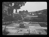 view [Tower Close]: the garden, with the house on the left. digital asset: [Tower Close] [lantern slide]: the garden, with the house on the left.