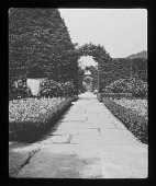 view [Hidcote Manor Garden]: looking from the Maple Garden through the White Garden to the Old Garden. digital asset: [Hidcote Manor Garden] [lantern slide]: looking from the Maple Garden through the White Garden to the Old Garden.