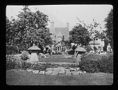 view [Bannits]: the house and part of the garden. digital asset: [Bannits] [lantern slide]: the house and part of the garden.