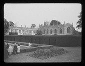 view [Sudeley Castle]: Sudeley Castle, with St. Mary's Church on the right and the Queen's Garden in the foreground. digital asset: [Sudeley Castle] [lantern slide]: Sudeley Castle, with St. Mary's Church on the right and the Queen's Garden in the foreground.