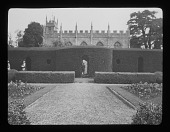 view [Sudeley Castle]: St. Mary's Church and the topiary hedge. digital asset: [Sudeley Castle] [lantern slide]: St. Mary's Church and the topiary hedge.