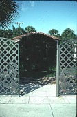 view [Pan's Garden]: front gate close-up. digital asset: [Pan's Garden]: front gate close-up.: 1999 Jan.