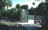 view [Pan's Garden]: front gate (from inside garden). digital asset: [Pan's Garden]: front gate (from inside garden).: 1999 Jan.