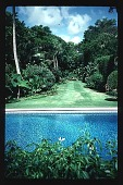 view [Untitled Garden]: View of pool and allee. digital asset: [Untitled Garden]: View of pool and allee.: 1996 May. 9.