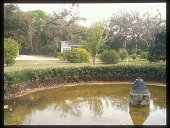 view [Gerbing Gardens]: the remains of the sunken pool and fountain, with the remodeled greenhouse in background. digital asset: [Gerbing Gardens]: the remains of the sunken pool and fountain, with the remodeled greenhouse in background.: 2009, Feb.